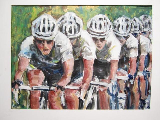 wielrenners uit de wind