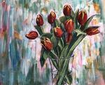 Rode tulpen in vaas