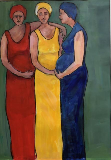 Drie zwangere dames 6x80 acryl op papier