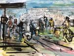 schilderen bij de pont NDSM naar CS