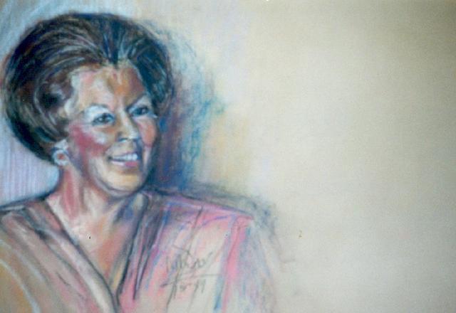 portret koningin Beatrix ( hangt in Leids Ziekenhuis)