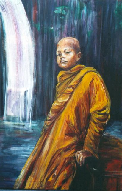 jonge monnik bij waterval (verkocht)